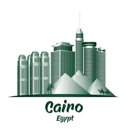 egypt: City of Cairo Egypt Famous Buildings. Editable Vector Illustration