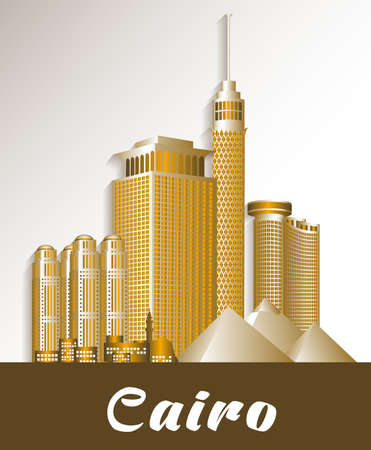 cairo: City of Cairo Egypt Famous Buildings. Editable Vector Illustration