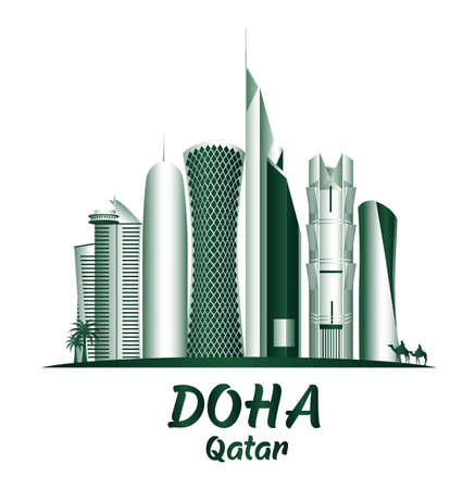 City of Doha Qatar Famous Buildings. Editable Vector Illustration