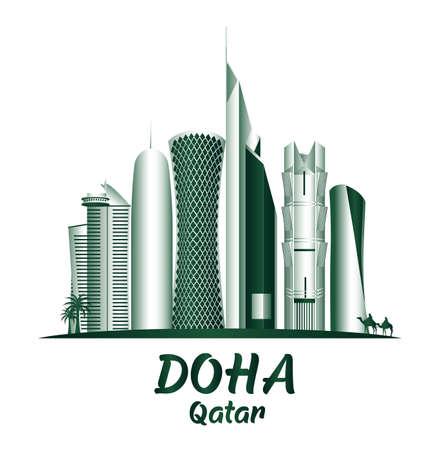 City of Doha Qatar Famous Buildings. Editable Vector Illustration