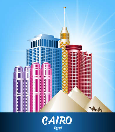 cairo: Colorful City of Cairo Egypt Famous Buildings. Editable Vector Illustration