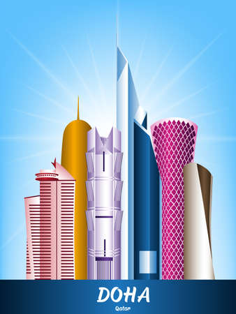 panoramic business: Colorful City of Doha Qatar Famous Buildings. Editable Vector Illustration