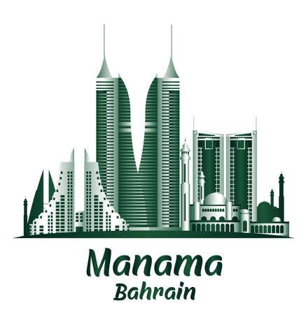 City of Manama Bahrain Famous Buildings. Editable Vector Illustration