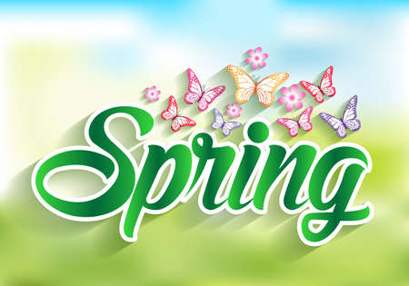 spring green: Spring Word Paper Cut with Flowers & Butterflies. Vector Illustration