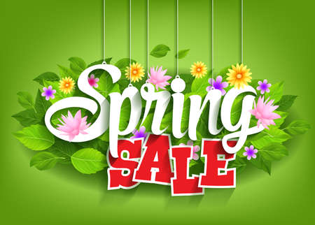spring: Spring Sale Word Hanging on Leaves with Strings. Vector Illustration Illustration