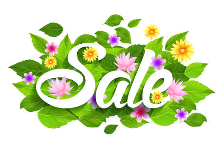 spring: Spring Sale Word with Butterflies, Leaves and flowers. Vector Illustration