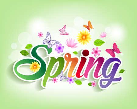 mariposas volando: Primavera Palabra del corte del papel con flores y mariposas. Ilustraci�n vectorial Vectores