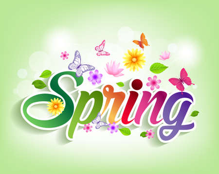 green banner: Spring Word Paper Cut with Flowers & Butterflies. Vector Illustration
