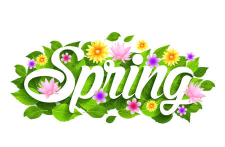 spring: Spring Word Paper Cut with Flowers & Butterflies. Vector Illustration