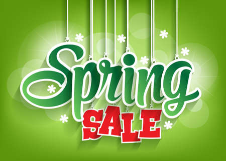 spring sale: Spring Sale Word Hanging with Strings. Vector Illustration