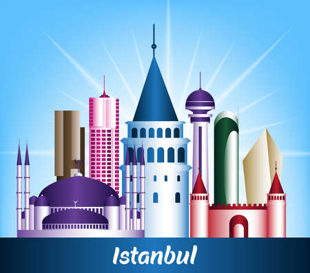 Colorful City of Istanbul Turkey Famous Buildings. Editable Vector Illustration Vector