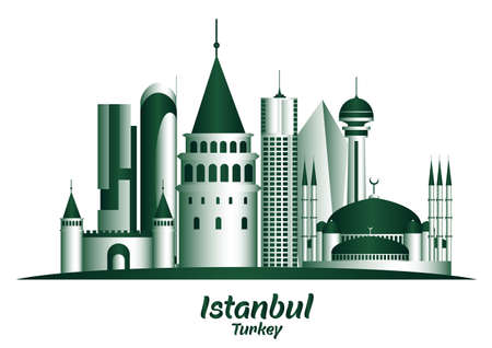 sapphire: City of Istanbul Turkey Famous Buildings. Editable Vector Illustration