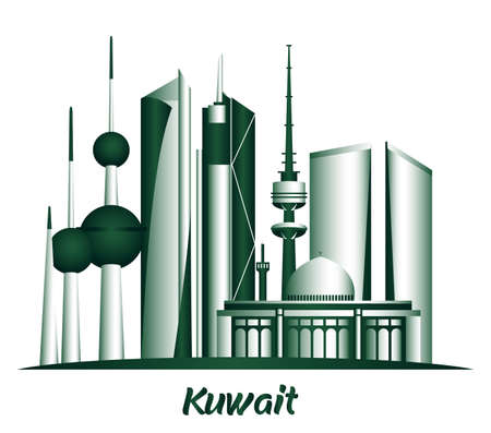 City of Kuwait Famous Buildings. Editable Vector Illustration Vector