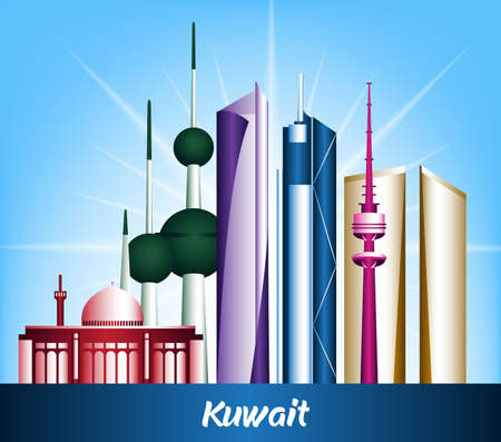 Colorful City of Kuwait Famous Buildings. Editable Vector Illustration Vector
