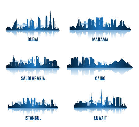 city panorama: Set of Cities in Middle East Famous Buildings. Editable Vector Illustration
