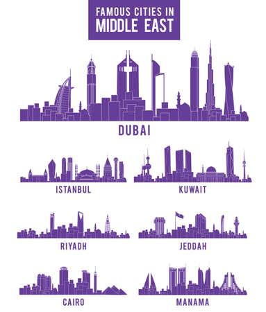 Définir des villes dans les bâtiments célèbres Moyen-Orient. Modifiable illustration vectorielle