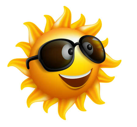 sunglass: Summer Sun Face with sunglasses and Happy Smile. Vector Illustration