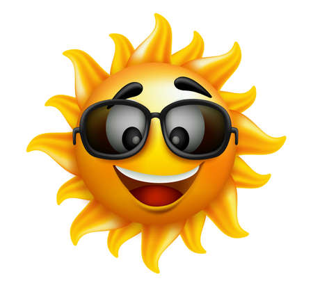 sunlit: Summer Sun Face with sunglasses and Happy Smile. Vector Illustration