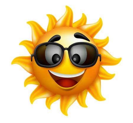 sol caricatura: Summer Sun hace frente con gafas de sol y sonrisa feliz. Ilustraci�n vectorial