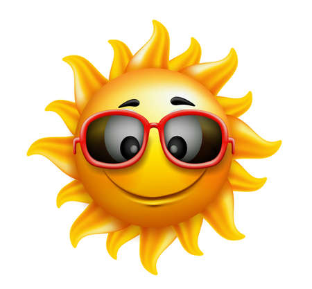 sun ray: Summer Sun Face with sunglasses and Happy Smile. Vector Illustration
