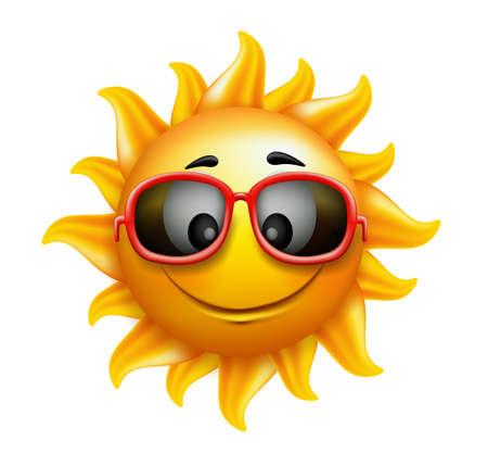 sonrisa: Summer Sun hace frente con gafas de sol y sonrisa feliz. Ilustración vectorial