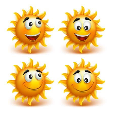 sol caricatura: Conjunto de Sun del verano cara con una sonrisa feliz. Ilustración vectorial
