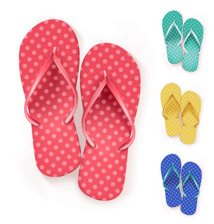 flip flops on the beach: Set of Realistic Colorful Flip Flops Beach Slippers. Vector Illustration Illustration