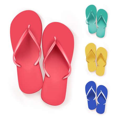 Set van realistische Kleurrijke Flip Flops Beach Slippers. Vector Illustratie