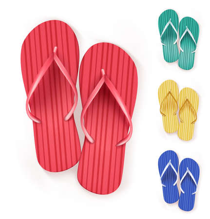 Set of Realistic Colorful Flip Flops Beach Slippers. Vector Illustration Illustration