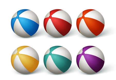 beach ball: Realistic Beach Balls Set in White Background. Vector Illustration