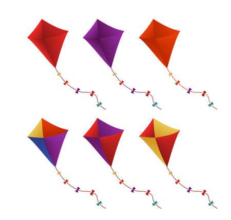 Volar cometas coloridas conjunto en el fondo blanco. Ilustración vectorial