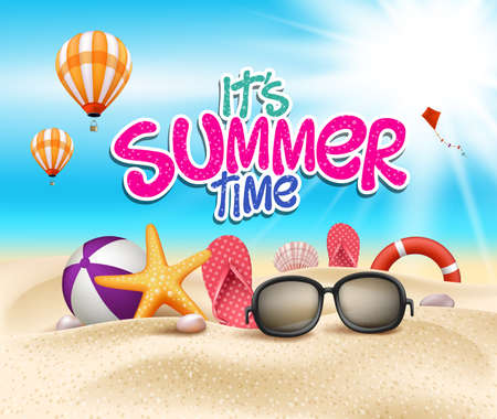 summer: Horario de verano en la playa de Sea Shore con objetos realistas. Ilustración vectorial