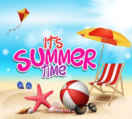 Horario de verano en la playa de Sea Shore con objetos realistas. Ilustración vectorial
