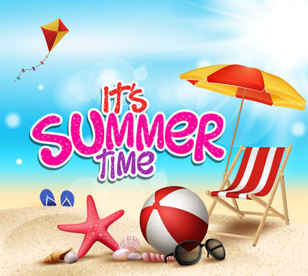 verano: Horario de verano en la playa de Sea Shore con objetos realistas. Ilustración vectorial