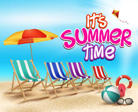 Summer Time in Beach Sea Shore with Realistic Objects. Vector Illustration