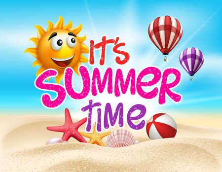 de zomer: Summer Time in Beach Sea Shore met realistische objecten. Vector Illustratie Stock Illustratie