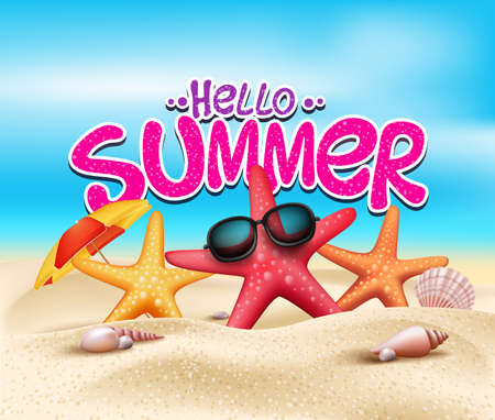 summer vacation: Hello Summer in Beach Seashore with Realistic Objects