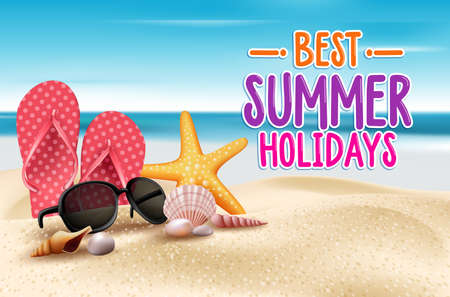 Vacaciones de verano en la playa de la costa. Ilustración vectorial