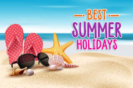 verano: Vacaciones de verano en la playa de la costa. Ilustración vectorial