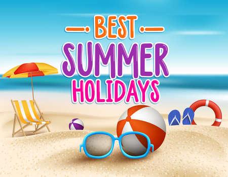 verano: Vacaciones de verano en la playa de la costa. Ilustraci�n vectorial