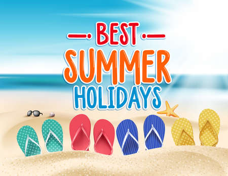flip flop: Summer Holidays in Beach Seashore. Vector Illustration