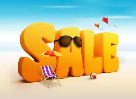 feriado: Palabras Venta Título dimensionales 3D para el verano con cometas voladoras, paraguas, Silla, Pelota de playa y gafas de sol en la playa o Sea Shore Ilustración