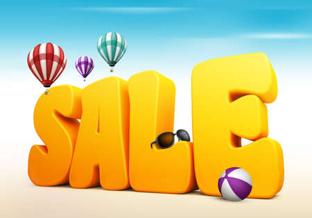 3d dimensional: 3D Dimensional Sale Title Words for Summer with Flying Colorful Balloons, Beach Ball and Sunglasses in the Beach or Sea Shore Illustration Stock Photo