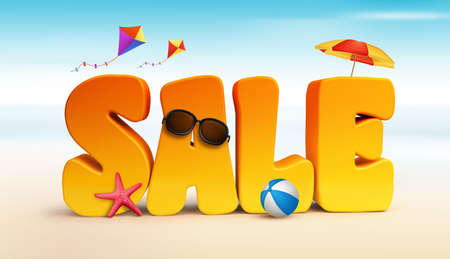 3d dimensional: 3D Dimensional Sale Title Words for Summer with Flying Kites, umbrella, Beach Ball Starfish and Sunglasses in the Beach or Sea Shore Illustration
