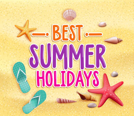 Best Summer Holidays Colorful Title Words in the Beach Yellow Sand with Slippers, Starfish and Sea Shells. Vector Illustration Vector