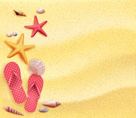 Summer Holidays Blank Background in the Yellow Beach Sand with Slippers, Starfish and Corals. Vector Illustration
