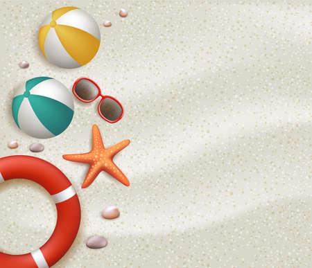 Vacaciones de verano de fondo blanco en la playa de arena blanca con bolas, Lifebuoy, gafas de sol, estrellas de mar, piedras y corales. Ilustración vectorial