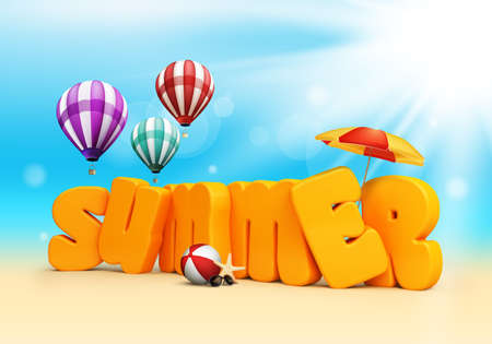 shades: Summer 3D Dimensional Texts Standing in Beach Sand with Sky and Sun Rays Background with Flying Colorful Balloons, Umbrella, Starfish, Sunglasses and Beach Ball. Vector Illustration