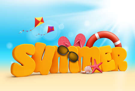 3d dimensional: Summer 3D Dimensional Texts Standing in Beach Sand with Sky and Sun Rays Background with Flying Colorful Kites, Lifebuoy, Starfish, Sunglasses, corals, and Slippers. Vector Illustration