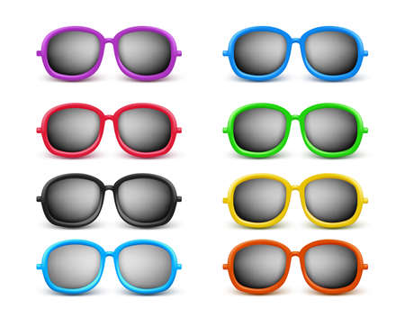 Set of Realistic Colorful Unisex Modern Stylish Elegant Sunglasses For Summer Seasons as an Eye Protection. Vector Illustration Vector